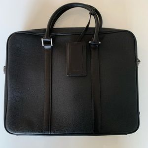 Prada men's black leather briefcase